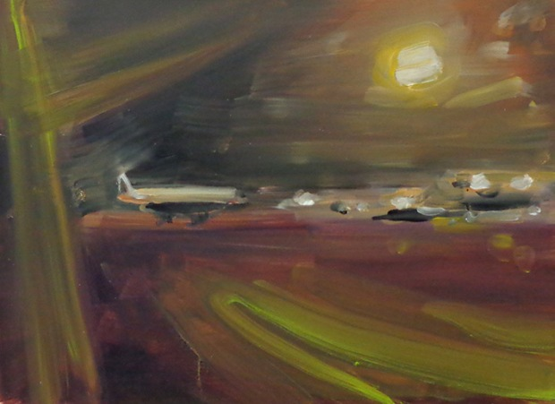 "Martin Sander, ""airport IV"", oil on board, 30 X 22 cm, 2012"